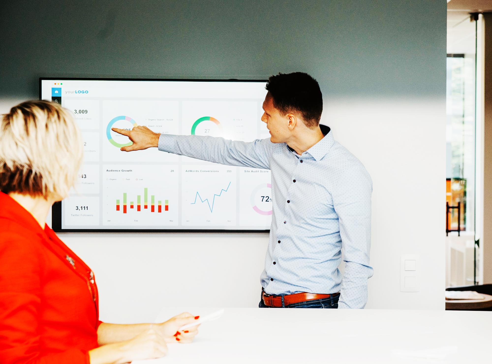 2 personen in een meeting waarvan er 1 naar een scherm wijst